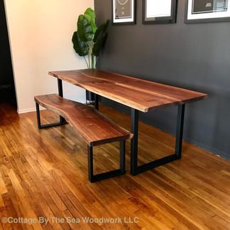 Live Edge Walnut Table & Bench