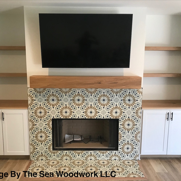 White Oak Fireplace Mantel & Floating Shelves
