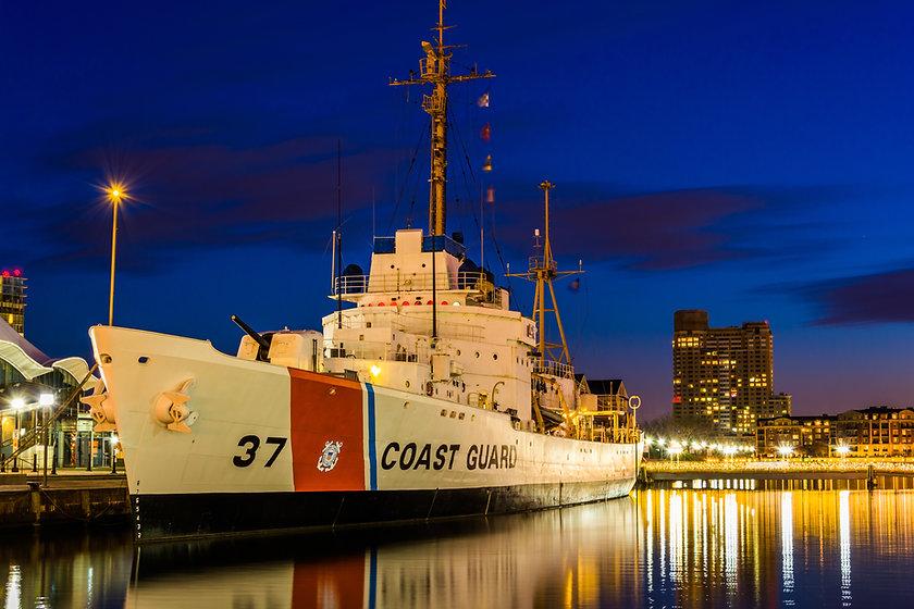 The USGC Taney Coast Guard Cutter at nig