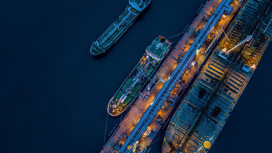 Aerial view oil and gas tanker cargo shi