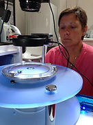 Peta Morton, Reiki teacher, in the CymaScope laboratory for the Imaging the Hidden Geometry of Reiki cymatics research.