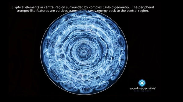 This CymaScope image created from the sounds of an online Reiki session shows elliptical elements, complex 14-fold geometry and vortices transmitting sonic energy back to the central region.