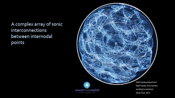 A CymaScope image created from the sounds of an online Reiki healing session, showing sonic interconnections between internodal points.