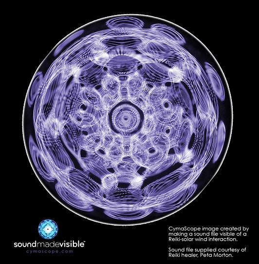 Imaging the Hidden Geometry of Reiki - a revolutionary new way to study energy medicine via the use of cymatics. By making visible the sounds and vibrations of online Reiki sessions via Skype energy healer Peta Morton hopes to bridge the gap between science and spirituality