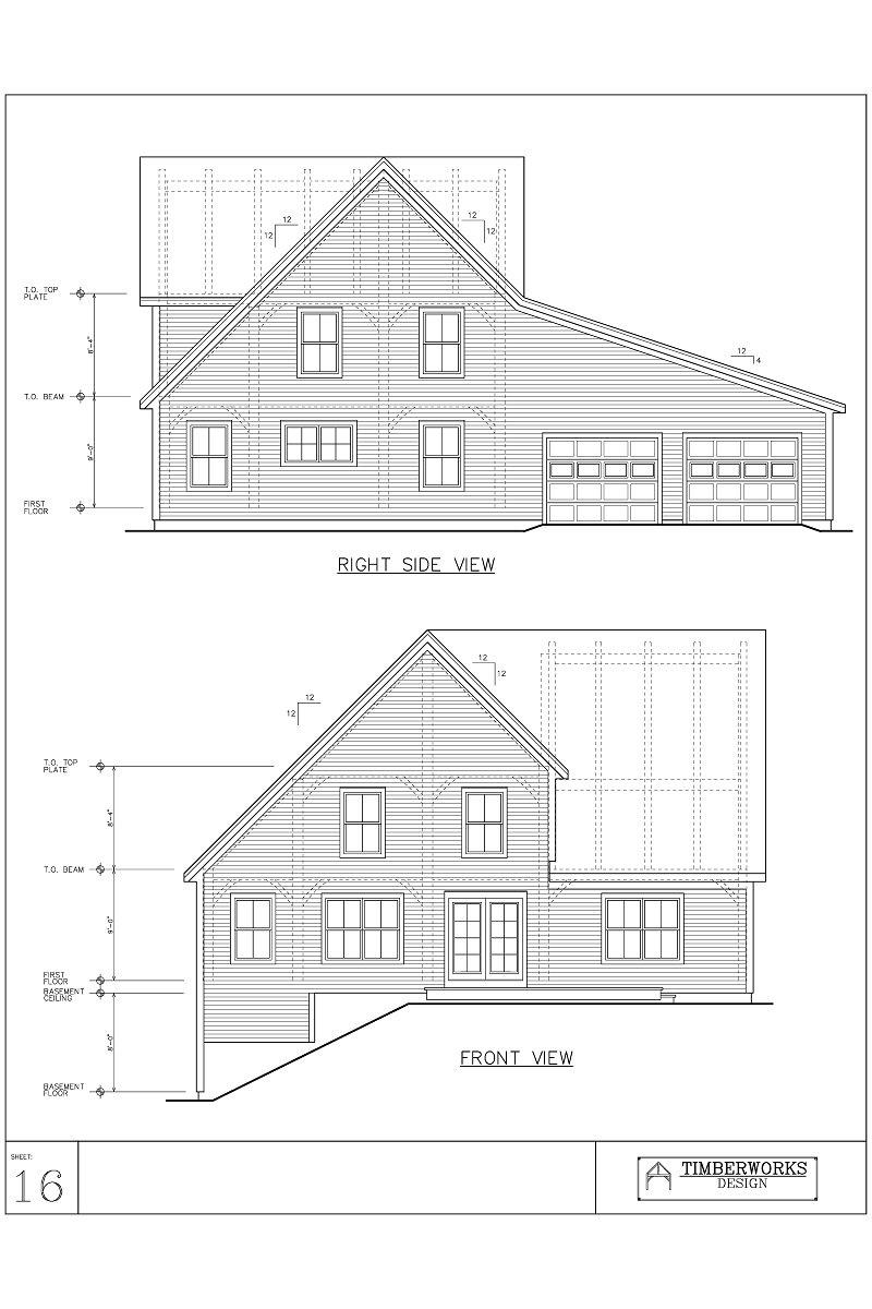 Timber Frame 48' x 32' saltbox w/ 21' x - 3116 sf - 3 bedroom - 2 bath