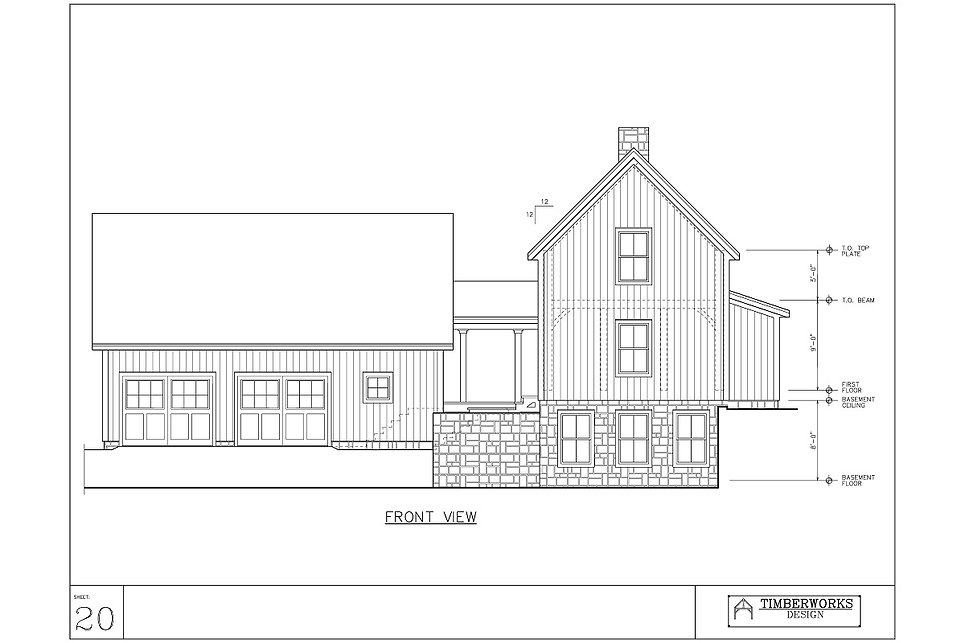 Timber Frame 18' x 60' cape w 5' x 30' bump out- 2310 sf - 2 bedroom - 2 bath
