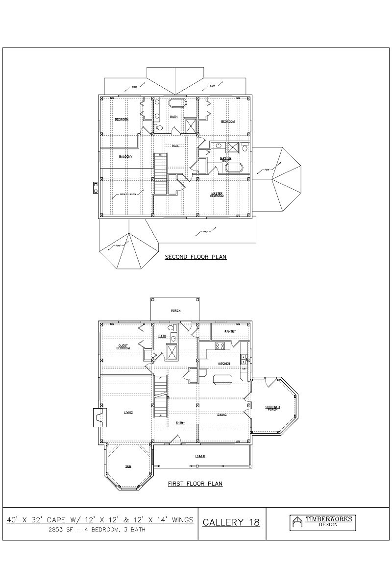 Timber Frame Floor Plan 40' x 32' cape w/ 12' x 12' & 12' x 14' wings - 2853 sf - 4 bedroom - 3 bath