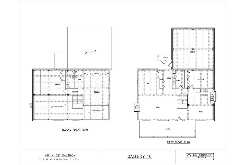 Timber Frame Floor Plan 48' x 32' saltbox w/ 21' x - 3116 sf - 3 bedroom - 2 bath