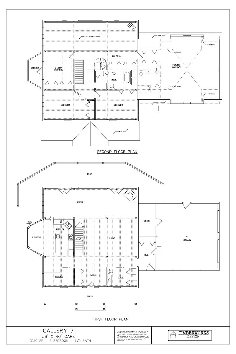 Timber Frame Floor Plan38' x 40' cape - 3310 sf - 3 bedroom - 1 1/2 bath
