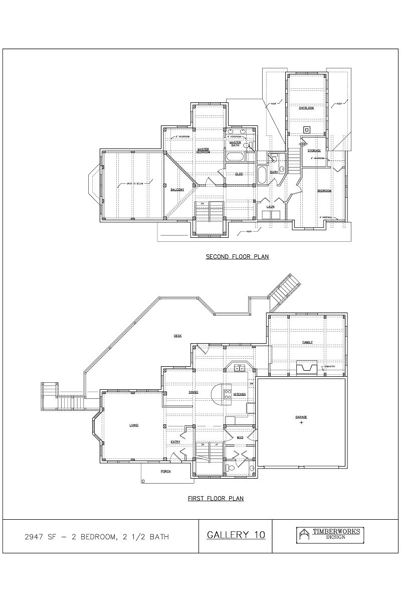 Timber Frame Floor Plan 2947 sf - 2 bedroom - 2 1/2 bath