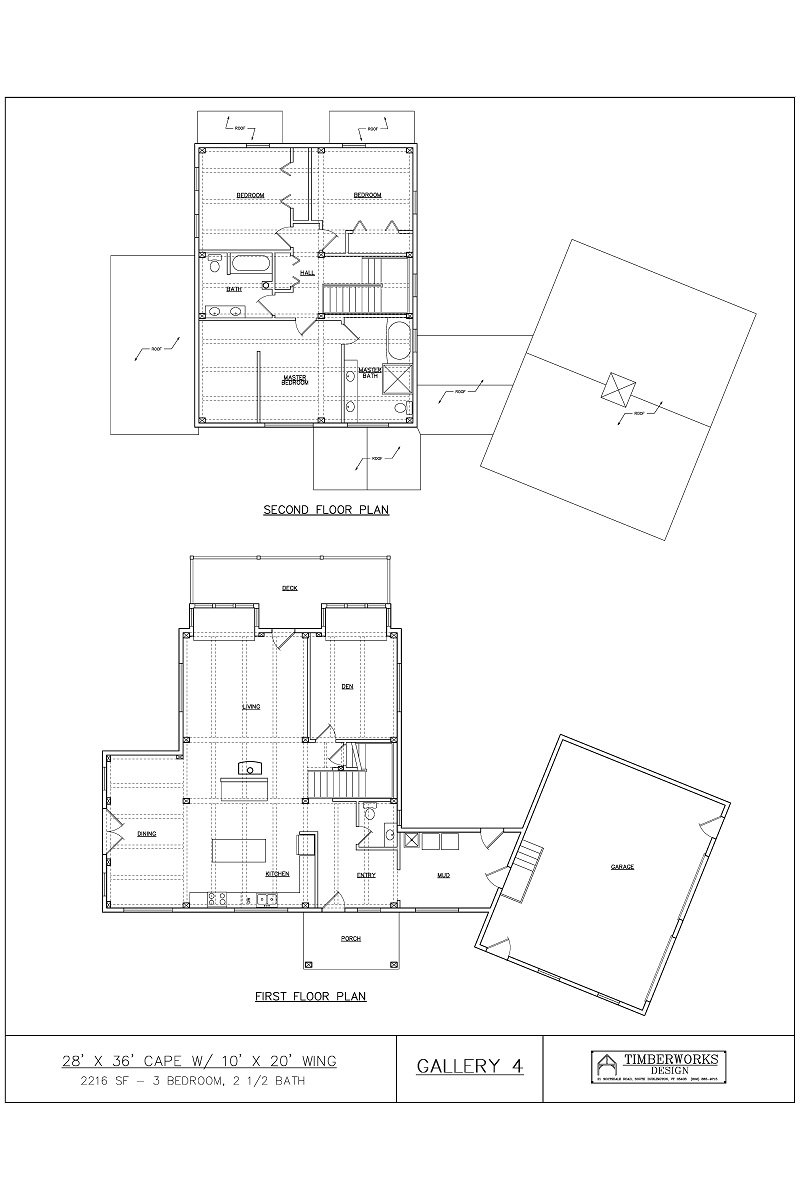 Timber Frame Floor Plan 28' x 36' cape w/ 10' x 20' wing - 2765 sf - 3 bedrooms - 2 1/2 bath