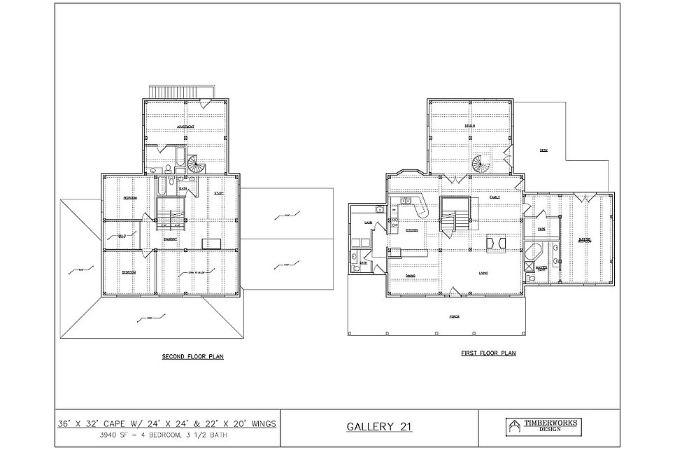 Timber Frame Floor Plan 36' x 32' cape w/ 24' x 24' & 22' x 20' wings - 3940 sf - 4 bedroom - 3 1/2 bath