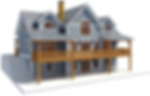 24' x 36' cape - w/ 16 x 28 wings - 3014 sf 3 bedrooms - 2 1/2 baths - Timber Frame House Plan