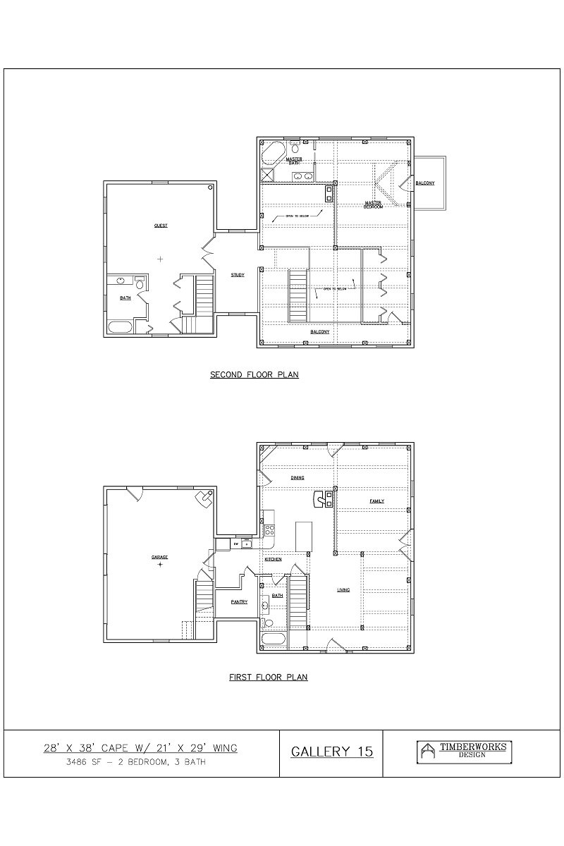 Timber Frame Floor Plan 28' x 38' cape w/ 21' x 29' wing - 3488 sf - 3 bedroom - 3 bath