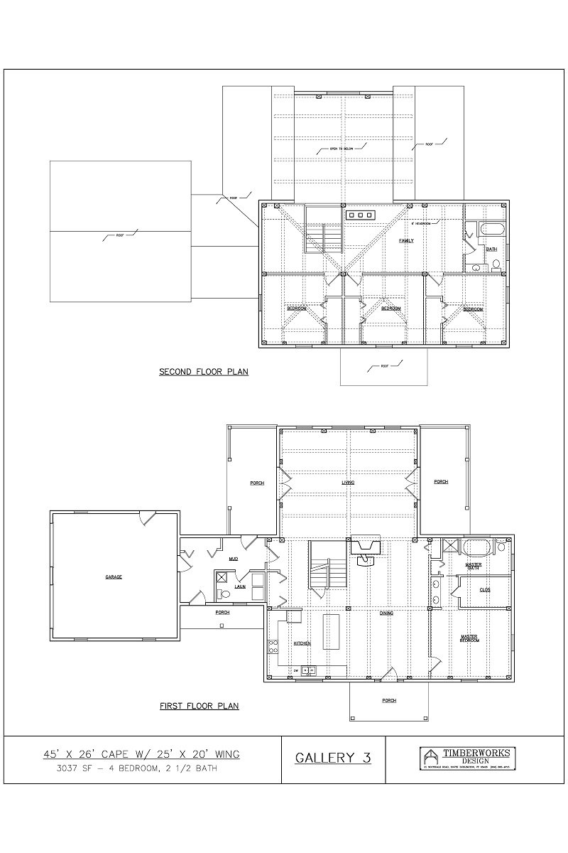 Timber Frame Floor Plan45' x 26' cape  w/ 25' x 20' wing - 3037 sf - 4 bedrooms - 2 1/2 bath