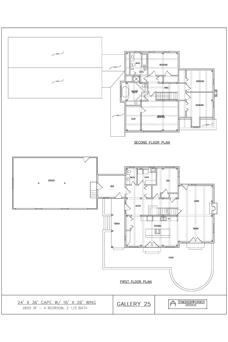 Timber Frame Floor Plan 24' x 36' cape w/ 16' x 26' wing - 2250 sf - 4 bedroom - 2 1/2 bath