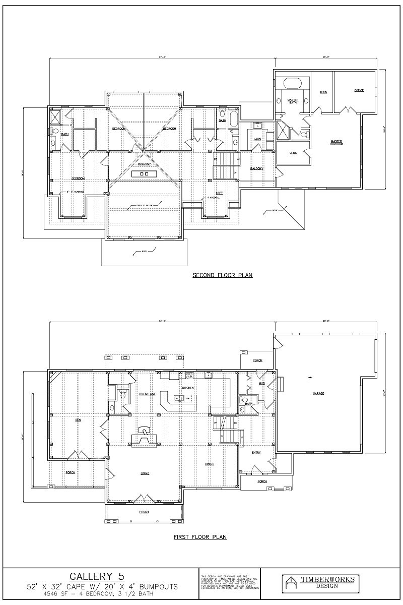 Timber Frame Floor Plan 52' x 32' cape w/ 20' x 4' bumpouts - 4546 sf - 4 bedroom - 3 1/2 bath