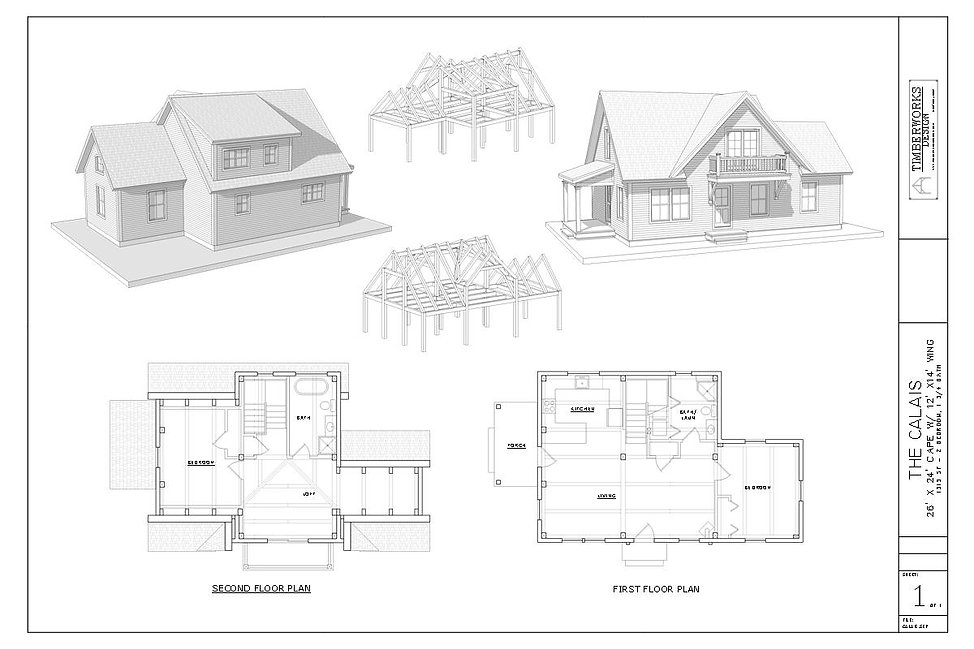 The Starksboro 24' x  36' Timber Frame Design and floor plan