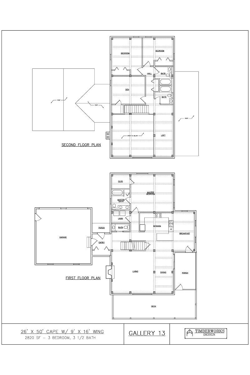 Timber Frame Floor Plan 26' x 30' cape w/ 9' x 16' wing 2820 sf - 3 bedroom - 3 1/2 bath