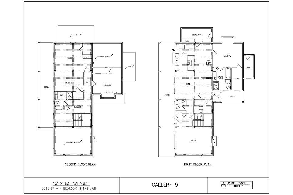 Timber Frame Floor Plan20' x 60' colonial - 3363 sf - 4 bedrooms - 2 1/2 bath