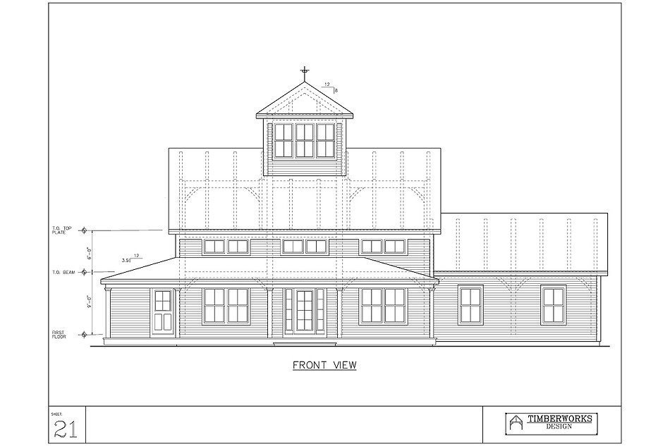 Timber Frame 48' x 32' saltbox w/ 21' x - 3116 sf - 3 bedroom - 2 bath