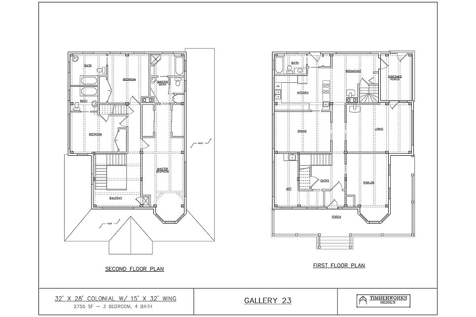 Timber Frame Floor Plan 32' x 28' colonial w 15' x 32' wing - 2755 sf - 3 bedrooms - 4 bath