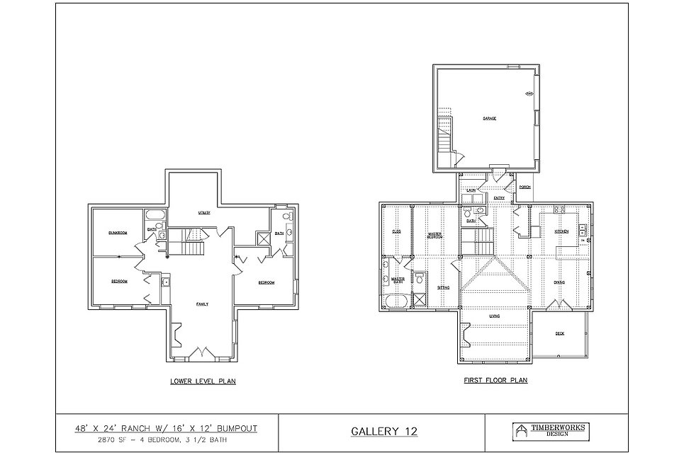 Timber Frame Floor Plan 48' x 24' ranch w/ 16' x 12' bumpout - 2870 sf - 4 bedrooms - 3 1/2 bath