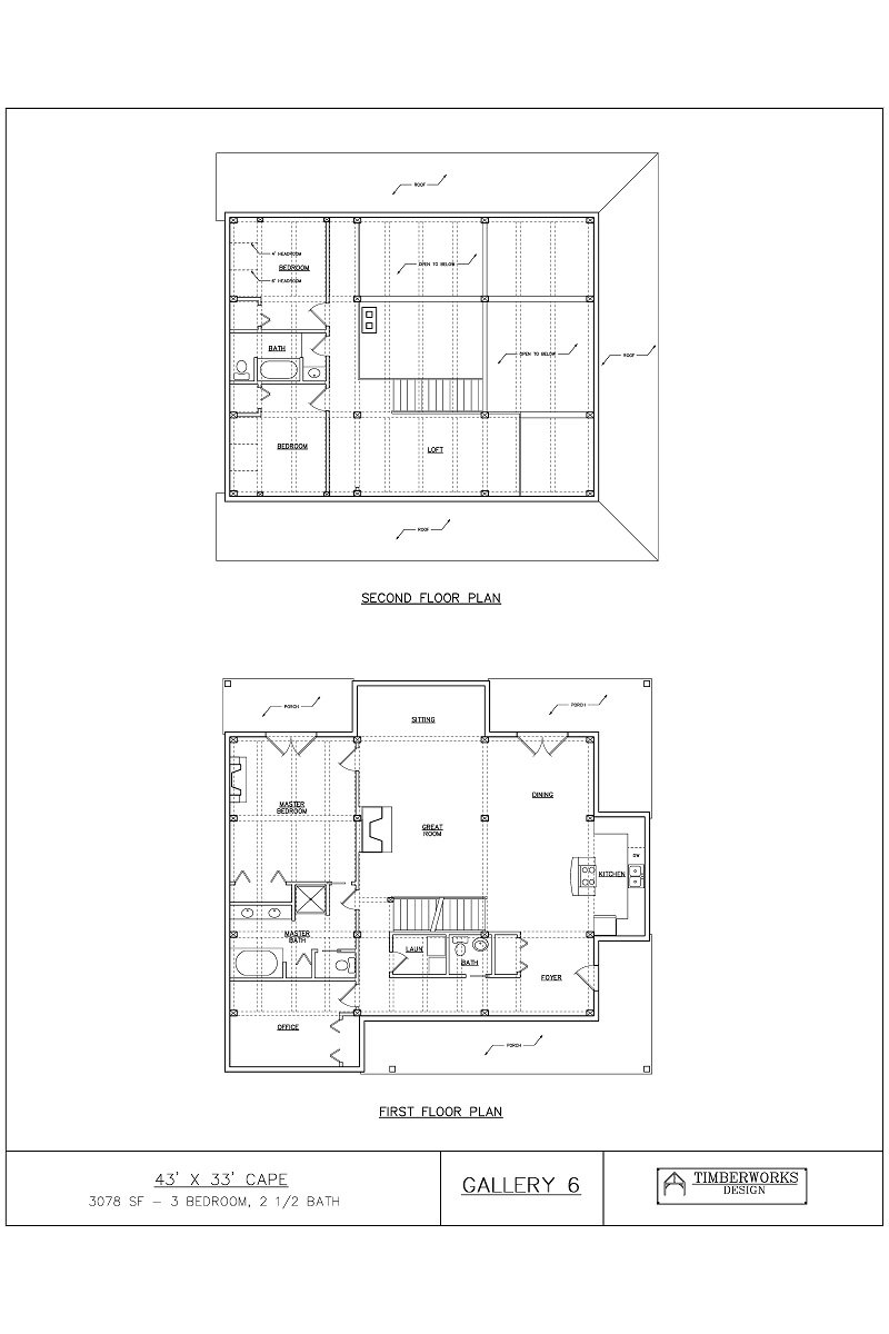 Timber Frame Floor Plan 43' x 33' cape - 3078 sf - 3 bedrooms - 2 1/2 bath