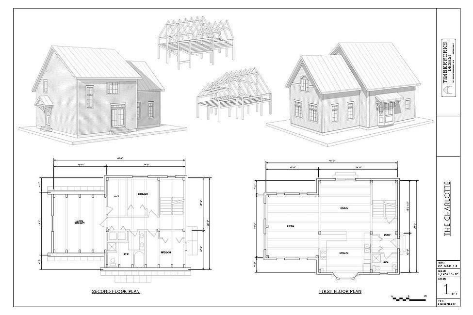 The Starksboro 24' x  36' Timber Frame Design and floor plan