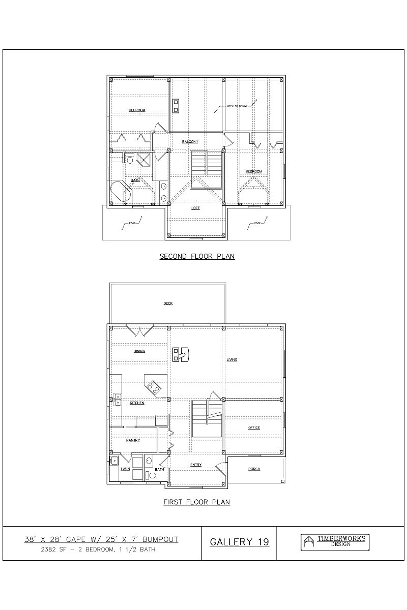 Timber Frame Floor Plan 42' x 24' cape - 2765 sf - 2 bedrooms - 2 bath