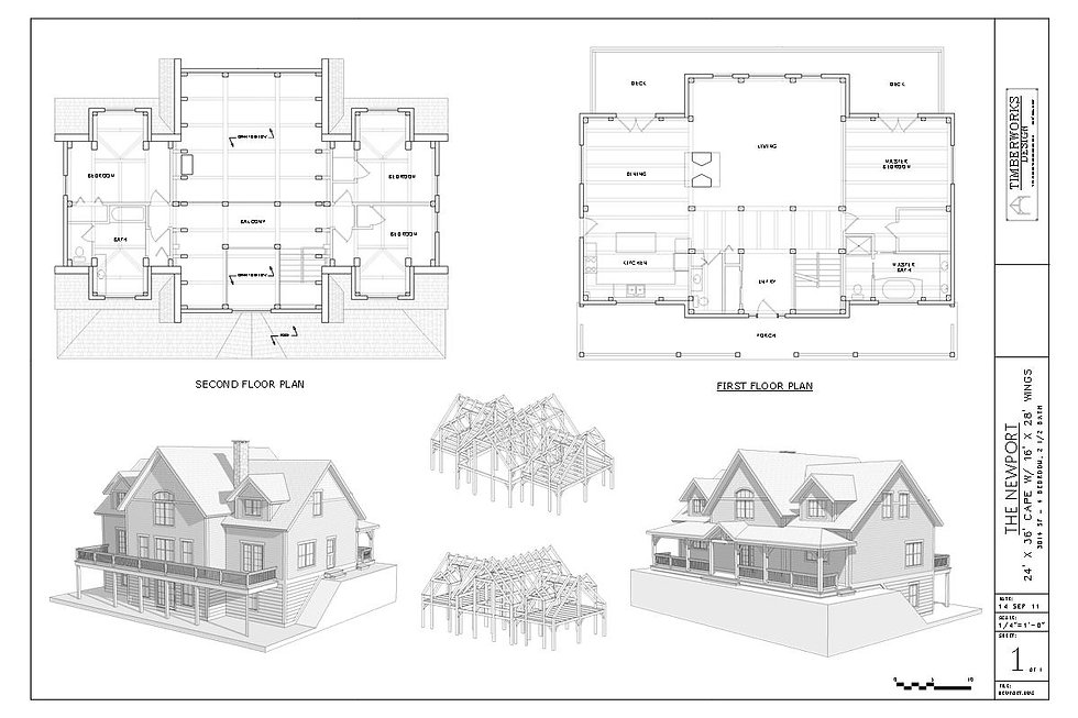The Newport | 24' x 36' Cape with is a 16' x 28' wings at 3000 square feet Timber Frame Home drawing package available for purchase.