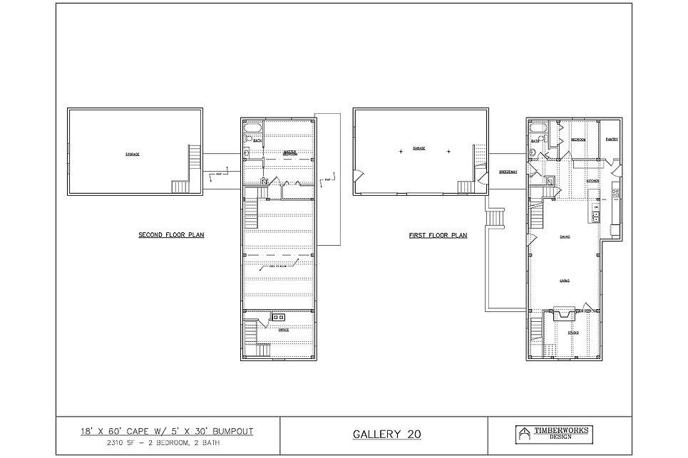 Timber Frame Floor Plan 18' x 60' cape w 5' x 30' bump out- 2310 sf - 2 bedroom - 2 bath