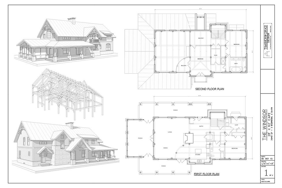 The Windser 28' x 62' Timber frame house design and floor plan