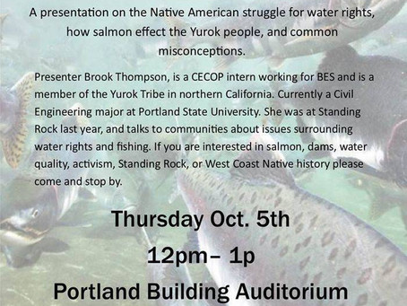 Presenter at the City of Portland and Public about Native American Misconceptions, Facts, and Water