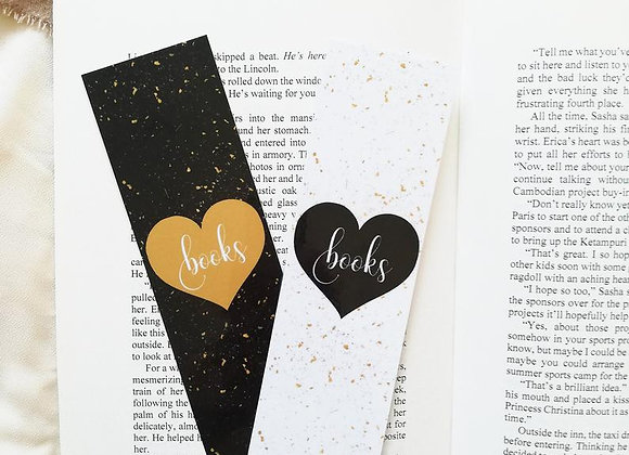Books In A Heart Laminated Bookmark