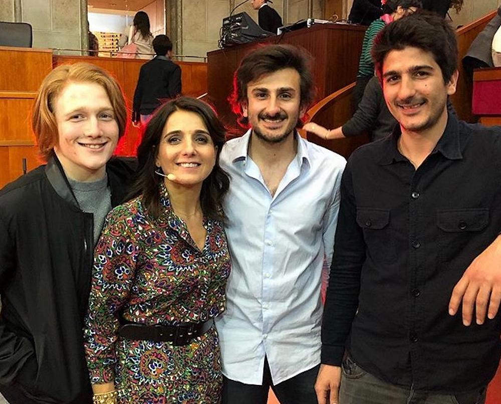 Anne-Cécile et ses 3 fils venus la soutenir au forum ELLE Active mars 2019