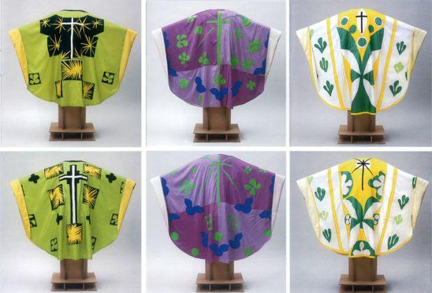 Les chasubles de Matisse chapelle du Rosaire de Vence vert violet et blanc