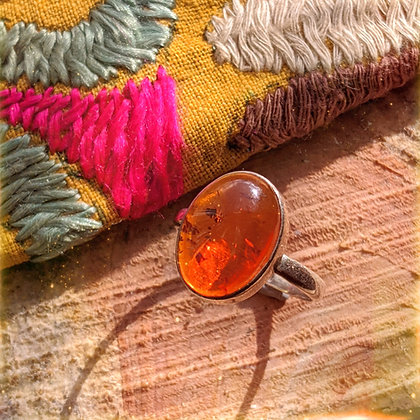 Large Amber Ring | Sterling Silver