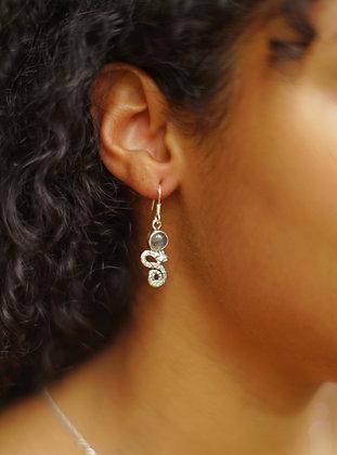 Snake & Gemstone Earrings   Sterling Silver - Choose Gemstone