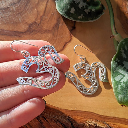 Large Om Cut Out Earrings | Sterling Silver