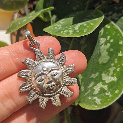 Large Sun Pendant | Sterling Silver