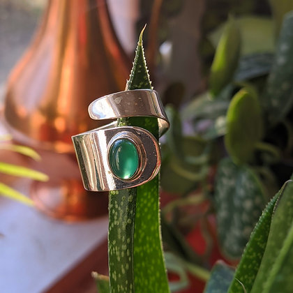 Green Onyx Adjustable Swirl Ring | Sterling Silver