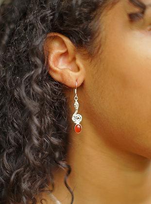 Snake & Gemstone Earrings | Sterling Silver - Choose Gemstone