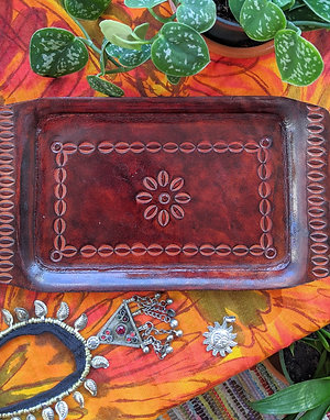 Beautiful Earthy Vintage Flower Leather Tray