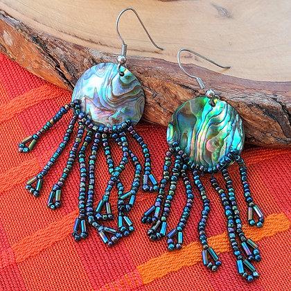 Vintage Abalone Shell Earrings    Sterling Silver Loops