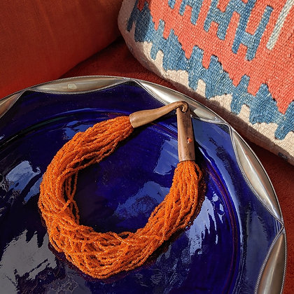 Beautiful Orange Bead & Wooden Hook Necklace