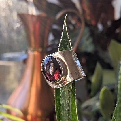 Large Garnet Adjustable Ring | Sterling Silver