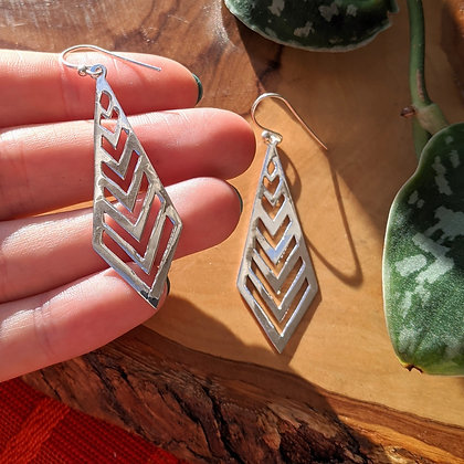 Large Cut Out Earrings | Sterling Silver