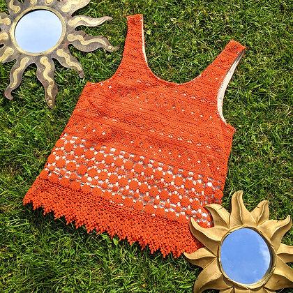 Orange Lace & Chiffon Top