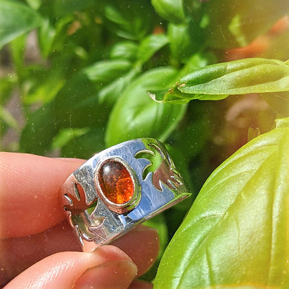 Celestial Sun & Amber Ring   Sterling Silver